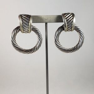 David Yurman SS and 14K Gold Doorknocker Earrings